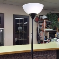Floor Lamp, White Lamp Shade with Black Single Post Metal Base