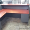 Grey Reception Desk w/Mahogany Surface and Transaction Counter