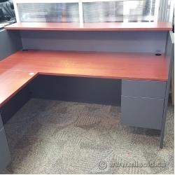 Grey Reception Desk w/Mahogany Surface and Transaction Counter