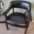 Black Leather Dark Wood Waiting Room Guest Chair