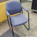 Blue Fabric Sleigh Guest Chair w/ Padded Arms