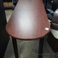 "Mahogany P Shape Desk 60""x 24"" Bullet Shape"