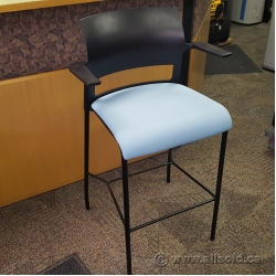 Blue Steelcase Move Counter Height Bar Stool w/ Fixed Arms