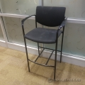 Black SteelCase NO.22 Player Bar Height Stool w/ Arms and Glides