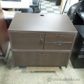 Dark Brown 4 Drawer Double Wide File and Storage Pedestal