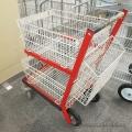 Rolling Red Frame 2 Tier Mail Cart w/ Castors