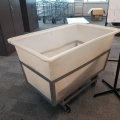 Rolling Heavy Duty Plastic Trolley Bulk Tub Bin w/ Metal Frame