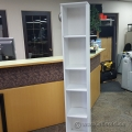 "White 6ft Wooden Corner Bookcase Display Stand 60"" Tall"