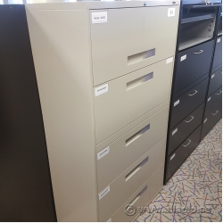 Beige Global 5 Drawer File Cabinet
