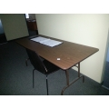 Wood Surface Folding Table w/ Metal Frame
