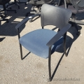 Blue Stacking Chair w/ Plastic Fixed Arms and Back