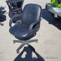 Black Leather Mid Back Rolling Task Chair w/ Fixed Arms