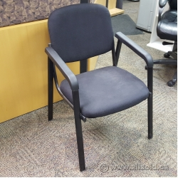 Black Fabric Stacking Guest Chair w/ Fixed Arms