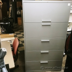 Grey Teknion 5 Drawer Flip Top Lateral File Cabinet