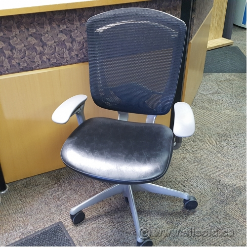 Teknion Contessa Black Leather Mesh Back Chair Allsold Ca Buy