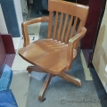Vintage 1950s Solid Oak Adjustable Swivel Office Chair KRUG