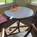 "Grey Surface w/ Black Trim 36"" Round Meeting Corner Table"