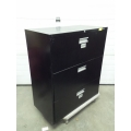 Black 3 Drawer Lateral Filing Cabinet, Locking