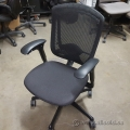 Teknion Black Fabric Contessa Adjustable Mesh Back Chair