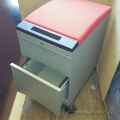 Grey Teknion 2 Drawer Rolling Pedestal w/ Red Cushion