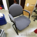 Grey Sleigh Guest Chair w/ Fabric Padded Arms
