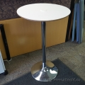 Round White Surface Bistro Table w/ Chrome Base