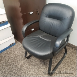 Black Leather Guest Sleigh Chair w/ Fixed Arms