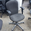 Black Fabric Rolling Task Chair w/ Adjustable Arms