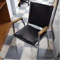 Black Stacking Ghest Chair w/ Wooden Arms Finish