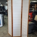 Wood Frame Tri-Fold Oriental Style Privacy Screen divider