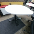 Tear Drop 3/4 Round Table White Top, Black Base