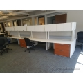 White Teknion Straight Desk with Overhead