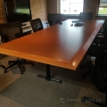 Mid Tone 10' Boardroom Table w/ Maple Beveled Edge, 3 T-Post Leg