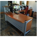Reception Desk Cred Peds x2, Printer Stand Tangerine