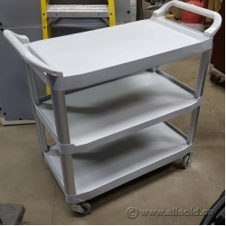Grey Rolling Rubbermaid Commercial Utility Cart