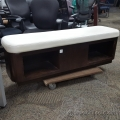Espresso Wooden Wall Bench w/ White Leather Cushion