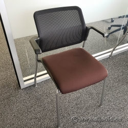 Brown Seat Mesh Back Stacking Guest Chair