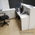 White Reception L-Suite Desk with Transaction Counter