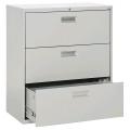 Prosource Grey 3 Drawer Lateral File Cabinet, Locking