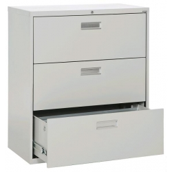 Prosource Grey 3 Drawer Lateral File Cabinet, Locking