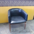 Black Leather Bucket Chair Wood Legs