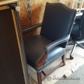 Blue Leather Wood Frame Reception Guest Chair