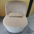 Beige Suede Swivel Bucket Seat Chair