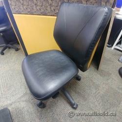 Lifeform Black Leather Adjustable Boardroom Meeting Chair