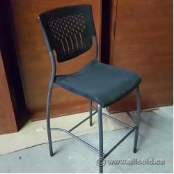 Black Global Plastic Back Bar Stool w/ Fabric Seat