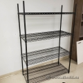 "Black Metal Wire 4 Tier Storage Rack 48""W x 21""D x 72""T"