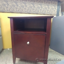 Dark Wood Mahogany Side End Table Enclosed Storage Cabinet