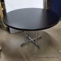 "Black 48"" Round Meeting Table w/ Chrome 4 Post Base"