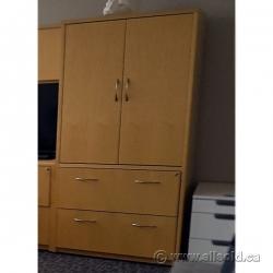Birds Eye Maple 2 Door, 2 Drawer Storage Cabinet