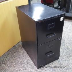 Black 2 Drawer Box Box File Storage Pedestal